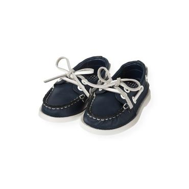 Marine Navy Leather Boat Shoe at JanieandJack