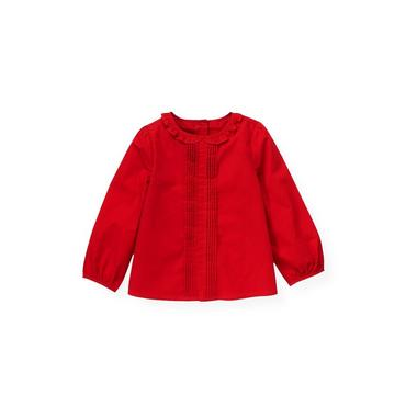 Cinnamon Red Pintucked Blouse at JanieandJack