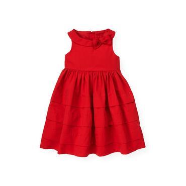 Cinnamon Red Tucked Bow Dress at JanieandJack