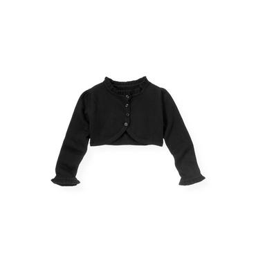 Classic Black Ruffle Crop Cardigan at JanieandJack