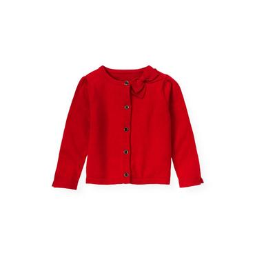 Cinnamon Red Bow Neck Cardigan at JanieandJack