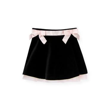 Classic Black Satin Ribbon Velveteen Skirt at JanieandJack