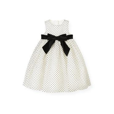 White/Black Dot Flocked Tulle Dress at JanieandJack