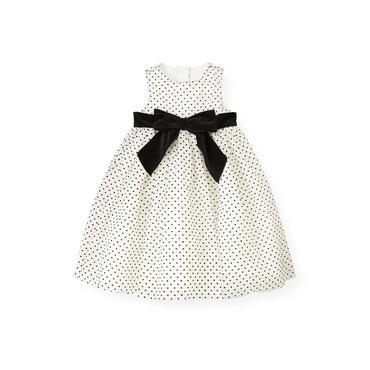 White/Black Dot Flocked Tulle Dress at JanieandJack