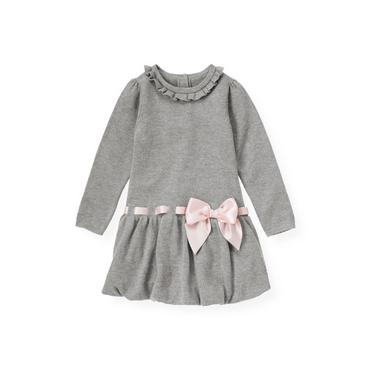 Ballet Grey Satin Bow Sweater Dress at JanieandJack