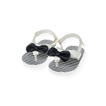 Resort Navy Stripe Bow Leather Thong Sandal at JanieandJack