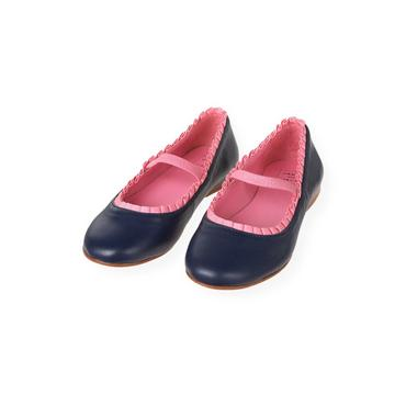 Spring Navy Pleated Ribbon Leather Shoe at JanieandJack