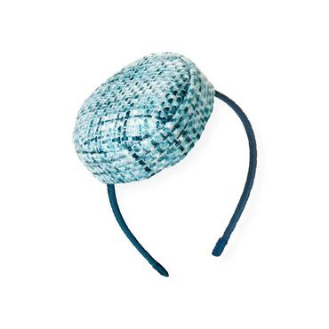 City Blue Plaid Bouclé Metallic Tweed Headband at JanieandJack