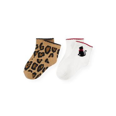 Jet Ivory/Leopard Leopard Kitty Sock Two-Pack at JanieandJack