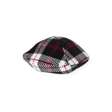 Black Plaid Tweed Plaid Beret at JanieandJack