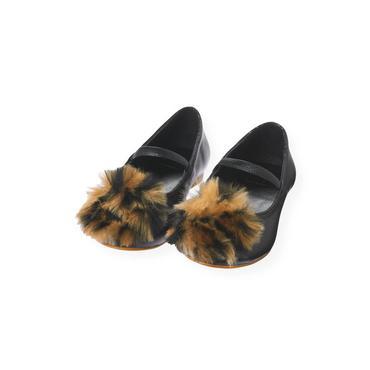 Classic Black Leopard Pompom Leather Shoe at JanieandJack