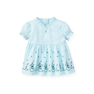 Iced Blue Floral Embroidered Top at JanieandJack