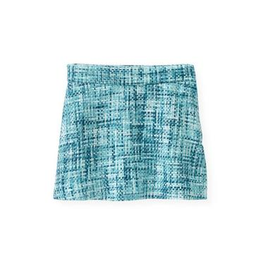 City Blue Plaid Bouclé Metallic Tweed Skirt at JanieandJack