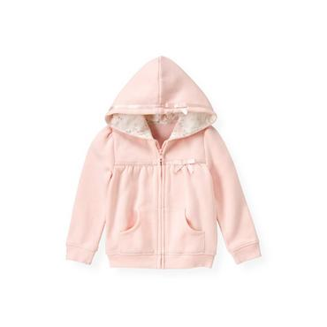 Ballet Pink Satin Ribbon Hoodie at JanieandJack
