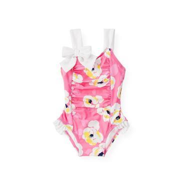 Azalea Pink Floral Bow Floral Swimsuit at JanieandJack
