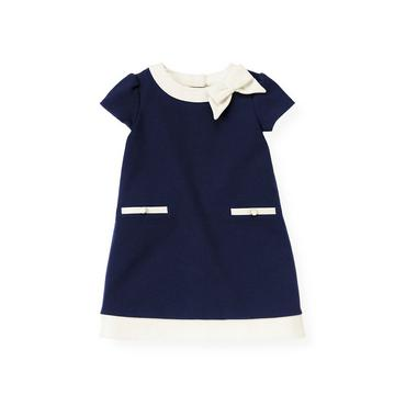 Spring Navy Tipped Ponte Dress at JanieandJack
