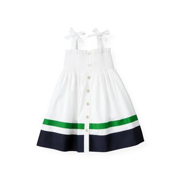 Pure White Smocked Stripe Dress at JanieandJack
