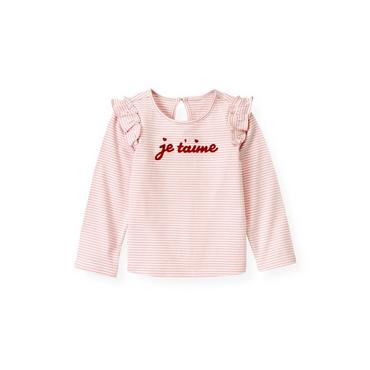 Marshmallow Pink Stripe Je T'Aime Stripe Top at JanieandJack