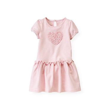 Marshmallow Pink Stripe Heart Stripe Dress at JanieandJack