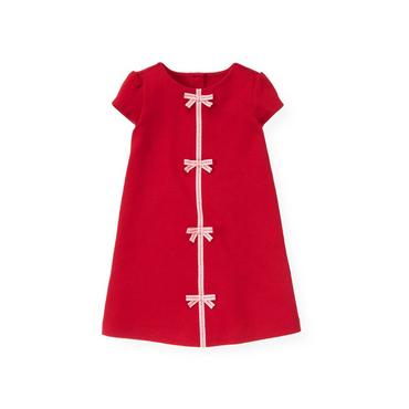 Valentine Red Pickstitched Bow Ponte Dress at JanieandJack