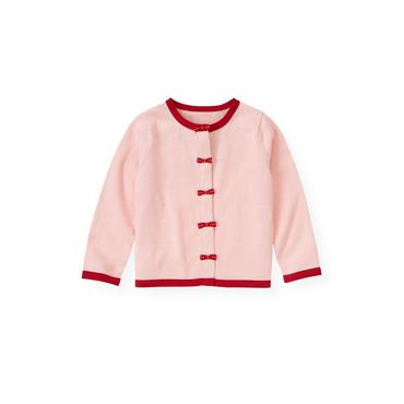 Marshmallow Pink Pickstitched Bow Cardigan at JanieandJack