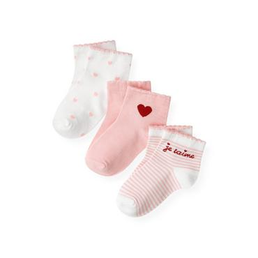 Marshmallow Pink Stripe/Marshmallow Pink/Jet Ivory Valentine Sock Three-Pack at JanieandJack