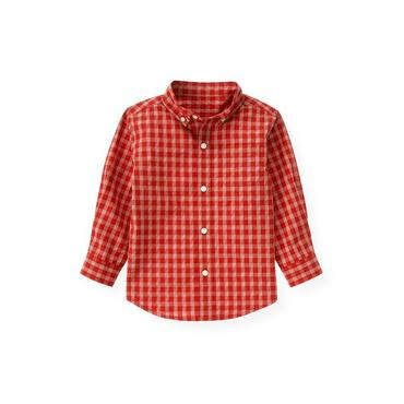 Fire Engine Red Check Plaid Shirt at JanieandJack