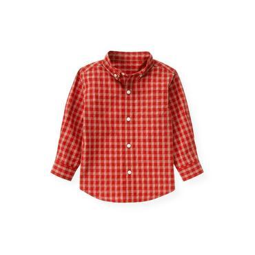 Fire Engine Red Check Plaid Shirt at JanieandJack
