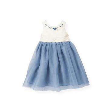 Winter Blue Hand-Embroidered Tulle Ruffle Dress at JanieandJack