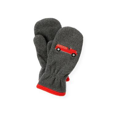Gray Stone Heather Fire Engine Microfleece Mitten at JanieandJack