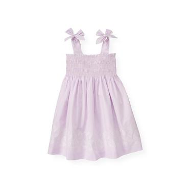 Purple Petunia Check Embroidered Gingham Dress at JanieandJack