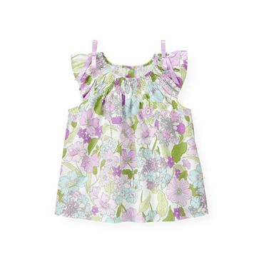 Purple Petunia Floral Smocked Petunia Floral Top at JanieandJack