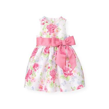 Butterfly Pink Floral Butterfly Floral Silk Dress at JanieandJack