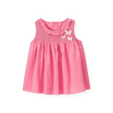 Butterfly Pink Butterfly Smocked Top at JanieandJack