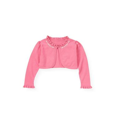 Butterfly Pink Hand-Embroidered Floral Crop Cardigan at JanieandJack