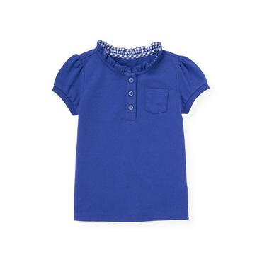 Bright Blue Ruffle Button Top at JanieandJack