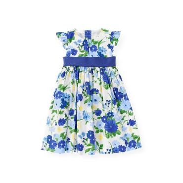 Bright Blue Floral Sash Floral Dress at JanieandJack