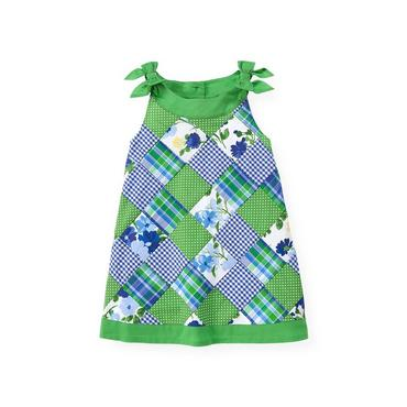 Spring Green Patchwork Patchwork Dress at JanieandJack