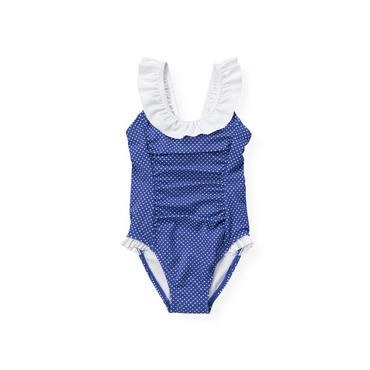 Bright Blue Dot Dot Ruffle One-Piece Swimsuit at JanieandJack
