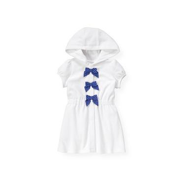 Pure White Dot Bow Swim Cover-Up at JanieandJack