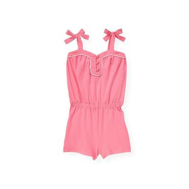 Candy Pink Piped Pique Romper at JanieandJack