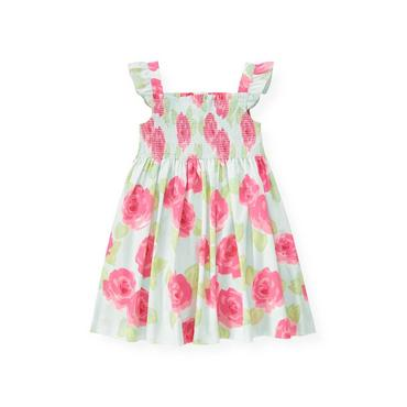 Bright Pink Rose Floral Smocked Rose Floral Dress at JanieandJack