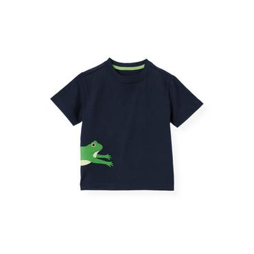 Boys Spring Navy Leaping Frog Tee at JanieandJack
