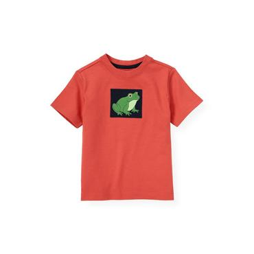 Boys Spring Orange Frog Appliqué Tee at JanieandJack