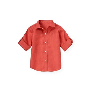Spring Orange Linen Roll Cuff Shirt at JanieandJack