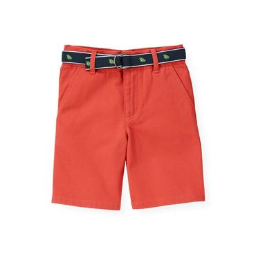 Boys Spring Orange Frog Belted Short at JanieandJack