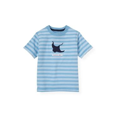 Boys Blue Kelp Stripe Manta Ray Stripe Tee at JanieandJack