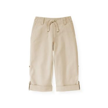 Boys Classic Khaki Roll Cuff Canvas Pant at JanieandJack