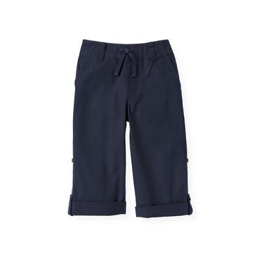 Boys Classic Navy Roll Cuff Canvas Pant at JanieandJack