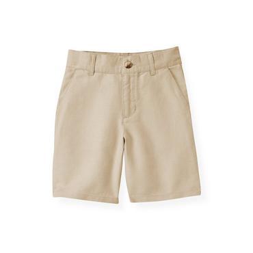 Boys Classic Khaki Khaki Linen Blend Short at JanieandJack